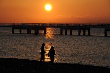 石田浜の夕陽